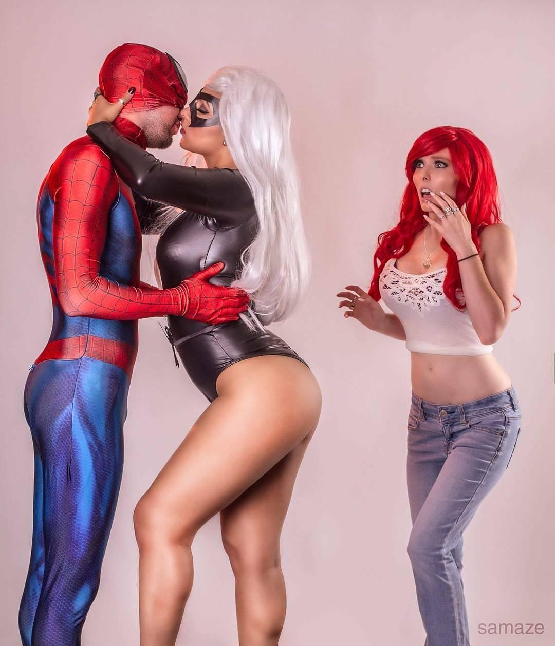 spiderman blackcat mjwatson cosplay by dallas_spidey soniaralynn krystlestarrwars photo by adamsamaze